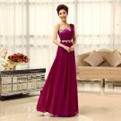 Long Bridesmaid Dresses Fuchsia A-line Corset One Shoulder Wedding Party Dress MB20183