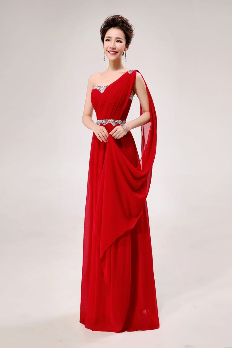 Long Bridesmaid Dresses Red A-line Corset One Shoulder Wedding Party Dress MB20183
