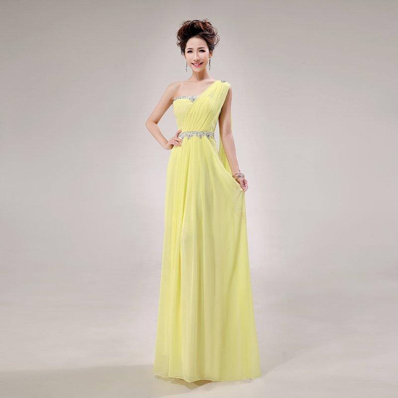 Long Bridesmaid Dresses Yellow A-line Corset One Shoulder Wedding Party Dress MB20183