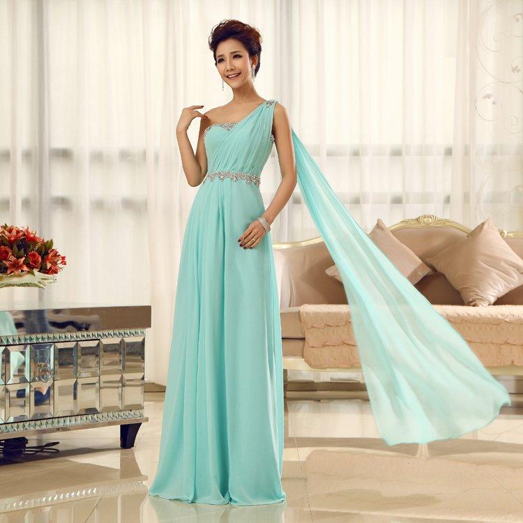 Long Bridesmaid Dresses Light Blue A-line Corset One Shoulder Wedding Party Dress MB20183