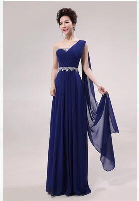 Long Bridesmaid Dresses Royal Blue A-line Corset One Shoulder Wedding Party Dress MB20183