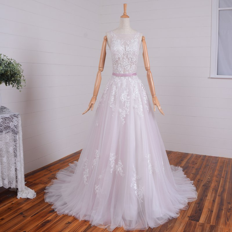 Lace Wedding Gown Sheer Bodice Sleeveless V-neck A-line