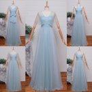 Long Bridesmaid Dresses Sky Blue A-line Corset Different Straps Wedding Party Dress