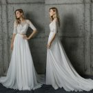 Lace Beach Wedding Dress Chiffon Princess Maternity Lace Bridal Gowns Travel Two Pieces Wedding Gown
