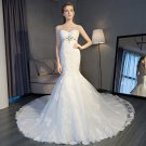 Cap Sleeves Lace Bridal Gowns Tulle Appliques Trumpet Mermaid Beaded Wedding Gowns 2018