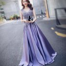 A-line Formal Gown Lilac Satin Lace Beading Long Mother of the bride Lady Party Prom Dress 2018