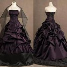 Floor-Length Ball Gown Embroidery Strapless Ruffles Purple Black Wedding Dress