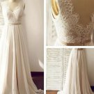 Lace Beach Wedding Dress Chiffon Princess Maternity Lace Bridal Gowns Travel Sleeveless Wedding Gown