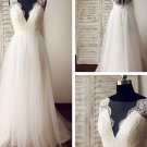 Lace Beach Wedding Dress Tulle A-line Maternity Lace Bridal Gowns Travel Sleeveless Wedding Gown
