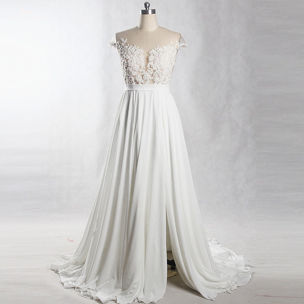 Beach Wedding Dress Lace Top Empire Waist Maternity Lace Bridal Gowns Travel Plus Size Wedding Gown,Fashionable Lace Dress Styles For Wedding Guest