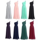 Long Bridesmaid Dresses Coral Blue Purple Wine A-line One Shoulder Chiffon Wedding Party Dress