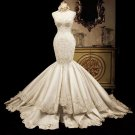 Mermaid Wedding Dress Strapless Lace Bridal Gowns Satin Wedding Gown H19126