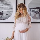 Lace Wedding Dress Long Sleeves Bridal Gowns Empire Maternity Chiffon Wedding Gown H19462