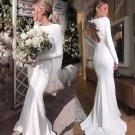 Long Sleeves Wedding Dress Jersey Spandex Gowns Boho Beach Wedding Gown H19531