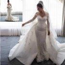 Detachable Train Wedding Dress Long Sleeves Mermaid Bridal Wedding Gown H9530