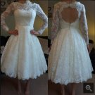 Beach Lace Wedding Dress Long Sleeves Lace Bridal Wedding Gown H9532