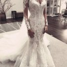 Lace Wedding Dress Long Sleeves Beading Mermaid V-neckline Bridal Gown D9126