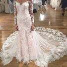 Lace Wedding Dress Long Sleeves Beading Mermaid V-neckline Bridal Gown D9127