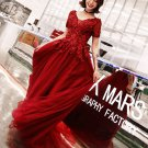 Wine Lace Evening Dress V-Back Mermaid Short Sleeves Lace Long Prom Dresses D19128