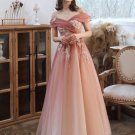 Peach Lace Evening Dress Lace Up-Back Shimmer Tulle A-line Long Prom Dresses D20918