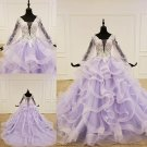 Long Sleeves Wedding Dress Ivory Lace Lavender Bridal Gowns Real Photo Wedding Gown 2021 H2069