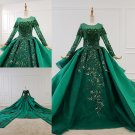 Long Sleeves Wedding Dress Green Lace Bridal Gowns Satin Wedding Gown 2021 H2059