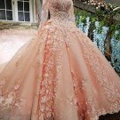 Long Sleeves Wedding Dress Pink Lace Bridal Gowns Satin Wedding Gown 2021 H2049