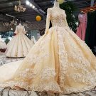 Long Sleeves Wedding Dress Champagne Lace Bridal Gowns Satin Wedding Gown 2021 H2049