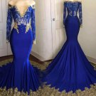 Gold Lace Evening Dress Blue Mermaid Sexy Long Prom Dresses 2021 D2047