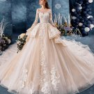 3/4 Sleeves Wedding Dress Champagne Lace Bridal Gowns Satin Wedding Gown 2021 H2039