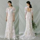 Long Sleeves Wedding Dress Detachable Train Pearls Mermaid Bridal Gown Satin H21317