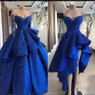 Blue Lace Evening Dress A-line Beaded Two In One Short Long Prom Dresses 2021 D2137