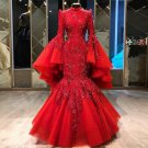 Wine Red Lace Wedding Dresses Long Sleeves High-neck Mermaid Beading Bridal Dresses 2022