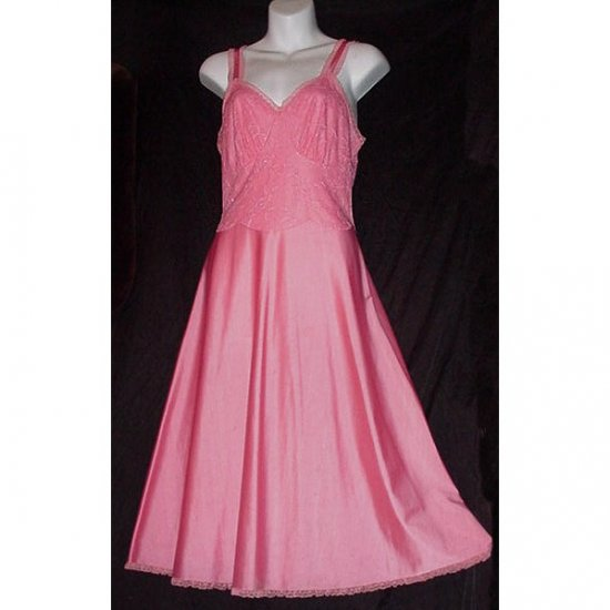 FUN FLAMINGO PINK Xtra Fancy VINTAGE SLIP Full Dress RARE 50s SWING STYLE Nylon LUXITE Sz 32/34 S/M!
