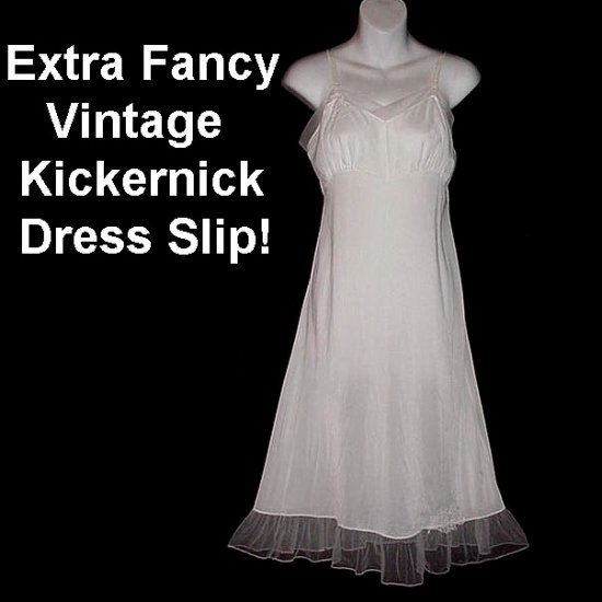 EXTRA FANCY Vintage SLIP Nylon SNOW WHITE w/ CHIFFON Petticoat FLOUNCE Full Dress Sz 34-S-M-Sml-Med!