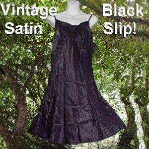 "BLACK BEAUTY SATIN Vintage Slip, Slip Dress or Nightgown SHIMMERY n STUNNING Sz XL 38-42"" Busts!"