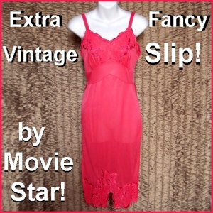 Amazing VINTAGE SLIP Nylon FUCHSIA PINK Lacy Full Dress FANCY Spectacular SATIN ACCENTS Sz S-32/34!