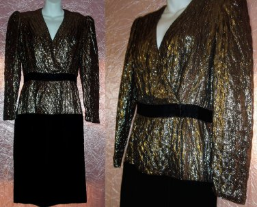 CLASSY Elegant COCKTAIL PARTY Dress METALLIC GOLD and BLACK VELVET Designer HALSTON Sexy Sz 8 M!