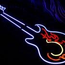 TANBANNER Neon Sign Light HOT FIRE BLUE GUITAR N115