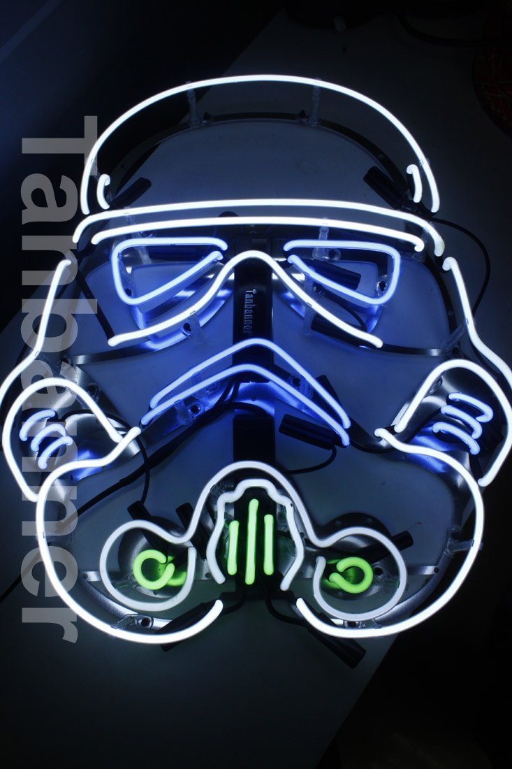 Silver Star wars clone Helmet Neon Sign Light N284A Blue eye