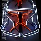 Silver Star wars clone Helmet Neon Sign Light N284B Red eye