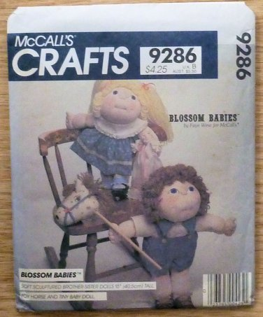 Vintage McCall's Pattern 9286 Blossom Babies Boy Girl Dolls Horse NIP 1984