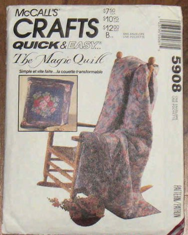 Vintage McCall's Quick and Easy Magic Quilt Pattern 5908 NIP 1992 OOP