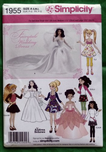Simplicity Pattern 1955 Doll Clothes for 10.5 to 12.5 Dolls NIP