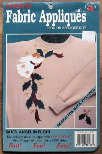 Sewing Fabric Iron-On Appliques Xmas Angel in Flight NIP