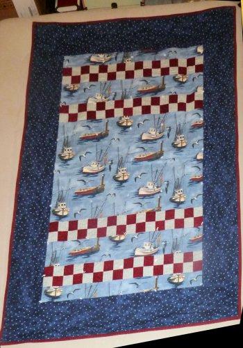 Handmade Quilt Fight Terrorism Washington State Grange Boat Star Design 66X46