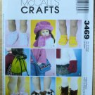 "Doll Pattern McCall's 3469 18"" Doll Accessories Shoes Hats New"