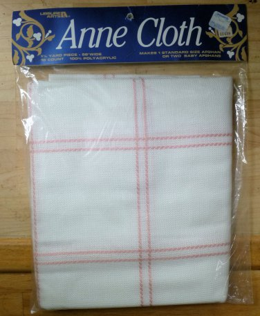 """Leisure Arts Anne Cloth Pink and White 18 Count 58"""" Wide NIP"""