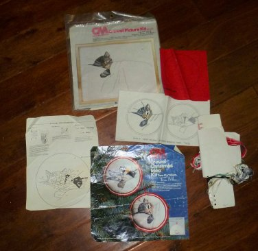Vintage Columbia Minerva Crewel Kits Sleeping Cat Picture and Ornaments 1976
