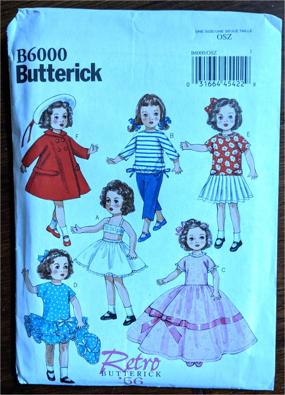 "Butterick RETRO 1956 Pattern 6000 18"" Girl Doll Dresses Coat Pants More NIP"